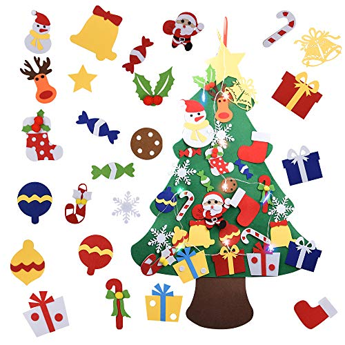 Onepine Feltro Albero Natale 3.3ft Albero di Natale Fai-da-Te Set di 30 Pezzi di Ornamenti e 1 Pezzo 6.5ft Lungo 10 Fiocchi di Neve LED luci a Colori Adatto per la Decorazione della Parete