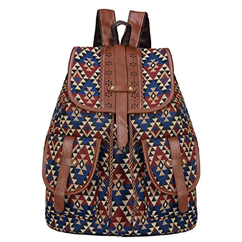 N-B Ladies Fashion Backpack, Casual Canvas Rucksack, Hand-woven Pattern Bag, Light And Trendy Travel Dayback, Suitable For School, Work And Outdoor Activities