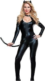 YOUJIA Mujer Disfraz de Catwoman Enterizo Mono Catsuit del Cremallera Gatubela Bodysuit Halloween Cosplay Traje - Talla única