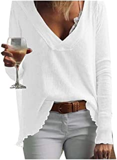Comaba Women Casual Blouse Solid Color V-Neck Long-Sleeve T-Shirt Top
