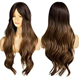 Ebingoo Dark brown Wig with bangs for Women Long Kinky Curly Soft Synthetic Heat Resistant Fiber Wigs for daily wear for cosplay