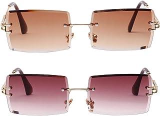 F Fityle 2 Pack Vintage Rectangle Cut Rimless Designer Tinted Lens Eyewear