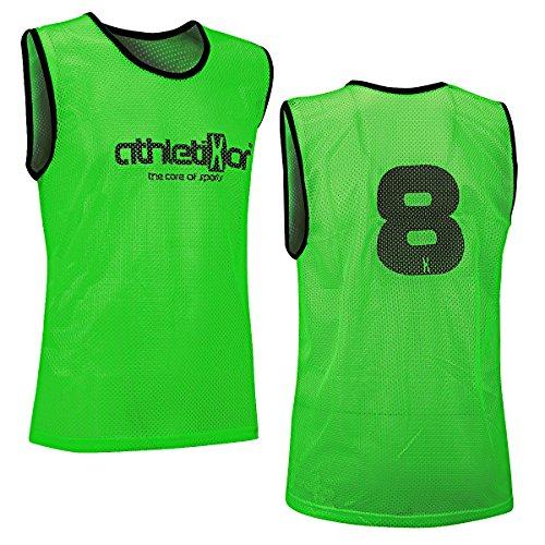 athletikor 12 Fußballleibchen mit Rückennummern - Trainingsleibchen - Leibchen - Markierungshemden (Grün, ab B Jugend - Erwachsene XL: 73X60CM)