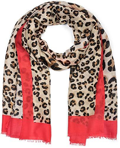styleBREAKER Damen Schal mit großem und kleinem Leoparden Muster Print, farbigem Streifen und Fransen, Tuch 01016176, Farbe:Braun-Rot