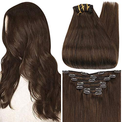 Full Shine Clip In Hair Extensions Human Hair Color 4 Medium Brown Remy Clip on Extensions 12 Inch Straight Hair 7 Pcs 80 Gram Human Hair Extensions Clip in Brown