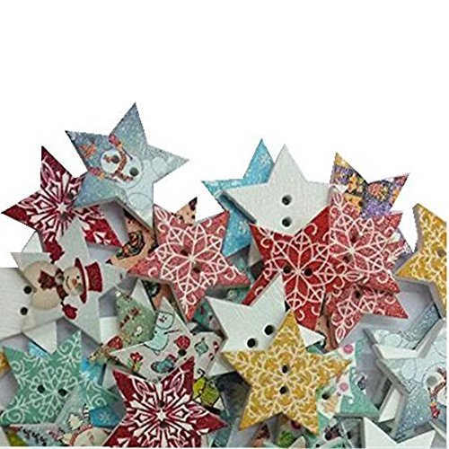 Hangood 50pcs Mixed Random Christmas Star 2 Holes Wooden Buttons for Sewing Crafts Clothes 20mm