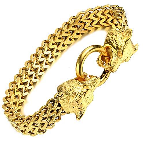 YABEME Vikingo Lobo de Doble Cabeza Fenrir Pulsera Acero Inoxidable 18K Chapado en Oro Cadena de Dragón Cubano Nordic Odin Celtic Pagan Rune Amuleto Joyería Regalo,Gold (a)