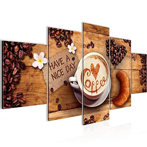 Bilder Kaffee Küche 5 Teilig Bild auf Vlies Leinwand Deko Wohnzimmer Mit Sprüchen Braun 501252a