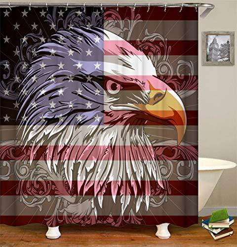 Kwboo Flag Dekoration. Auf Der Amerikanischen Flagge. Da Ist EIN Adler. Duschvorhang. Wasserdicht. Mildewproof Einfach Zu Säubern. 180X180Cm.