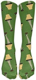 Christmas Retro Leg Lamp Calcetines de fútbol para jóvenes Calcetines de fútbol hasta la rodilla para adolescentes Calcetines largos de rayas de tubo de rugby.