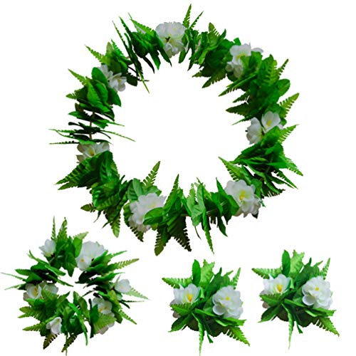 Amosfun 4pcs Hawaiian Flower Leis Set Artificial Flower Leaves Necklace Bracelets Headband Garland for Tropical Beach Luau Party Decoration