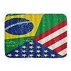 KAPANOU バスマット 吸水速乾 風呂マット ふんわり、アメリカアメリカブラジル国旗、丸洗い 快適 浴室 洗面所 脱衣所 玄関 キッチン 滑り止め付き 45x75cm