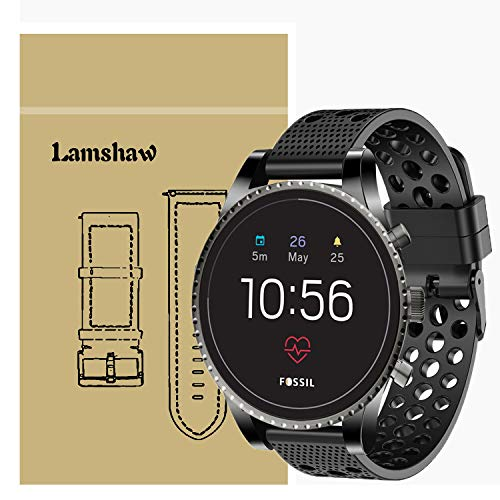 for Fossil Q Explorist HR Band, Lamshaw Silicone Replacement Wristbands Sport Strap with Metal Buckle for Fossil Men's Gen 4 Q Explorist HR/Gen 3 Q Explorist (Black)