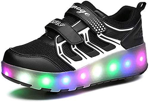 Tophacker Zapatos con ruedas para niños, deslumbrantes infancia, coloridos zapatos para niños, con luces LED, para niños divertidos (color: azul, tamaño: 34/34.5 UE)