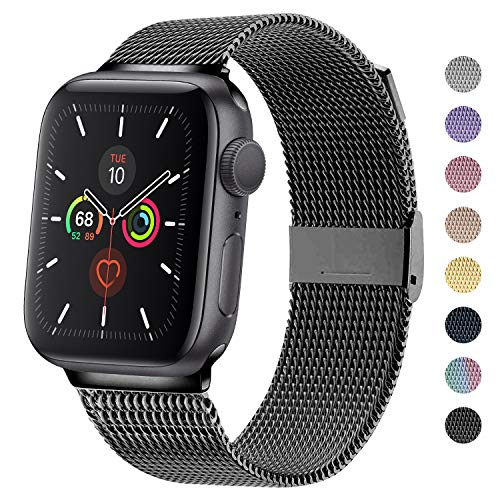 TRA Metal Band Compatible with Apple Watch 38mm 40mm 42mm 44mm, Stainless Steel Mesh Adjustable Replacement Strap Wristband Accessory for iWatch Series 5/4/3/2/1 Women & Men (Black, 42mm/44mm)