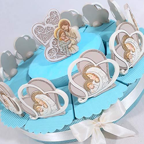Bomboniere Nascita Battesimo Bambino Cuore maternità Effetto Pietra (Torta da 12 fette)