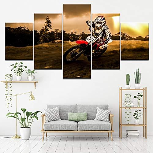 FYZKAY Bilder 5-teilig Leinwandbilder Extreme Motocross Wandkunst Malerei Tapeten Poster Print für Wohnzimmer Wohnkultur Rahmenlos