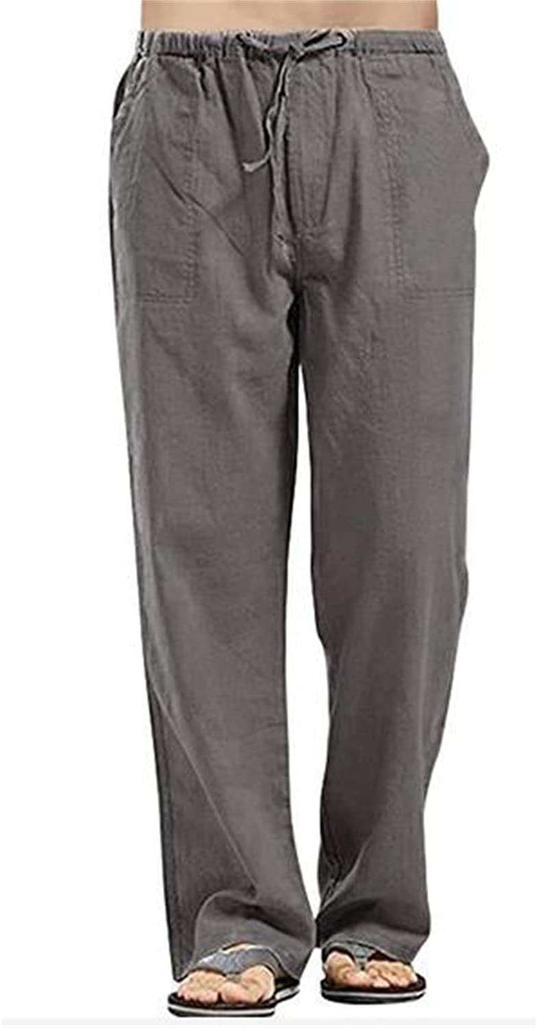 Mens Cotton Elastic Waist Drawstring Linen Pants Lightweight Baggy Lounge Beach Pant Loose Fit with Pockets Trousers (Dark Gray,X-Large)
