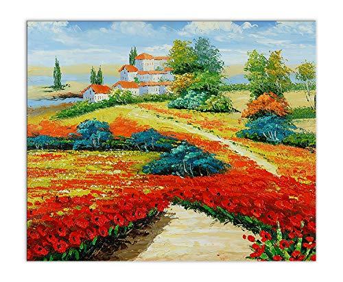 World Art Coquelicots La Peinture, Bois, Multicolore, 60x50x2 Cm