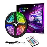 RGB LED Strip Lights IP65 Colored USB TV Backlight with Remote, 16 Color Changing 5050 LEDs Bias Lighting for HDTV, Multicolor for TV PC Background Lighting (1m)