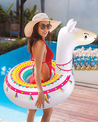 """Llama Pool Float Ride On Party Toys Alpaca Inflatable Swimming Ring Fiesta Water Supplies - for Adults or Kids 7 This llama ride-on float is a adorable addition to your pool party this summer. Made of premium polyvinyl chloride.Soft,durable and thick material. Measurement :41"""" X 37"""".Perfect for swimmers of all sizes and rated at 400 pounds."""