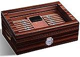 WANGXIAOYUE Caja de cigarros Maleta de Humor de cigarro Ligero con el Panel Frontal higrómetro Digital versátil Fuerte Resistente al Desgaste Caja de Tabaco