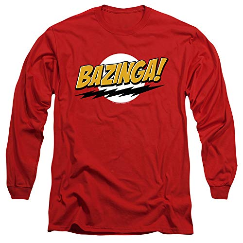 Big Bang Theory Bazinga Unisex Adult Long-Sleeve T Shirt for Men and Women, 2X-Large Red