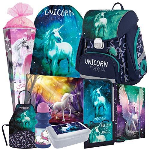 Einhorn Unicorn Pegasus Pferd Pony Horse 10 Teile Set Schulranzen Ranzen FEDERMAPPE TORNISTER Schulrucksack inklusive Sticker von Kids4shop Schultüte 85 cm