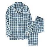 FOCU パジャマ メンズ レディース 綿100% 寝巻き ルームウェア 長袖 上下セット ポケット付き 吸汗速乾 通気性 肌に優しい 部屋着 お風呂上り 男女兼用 ロングシーズン blue L