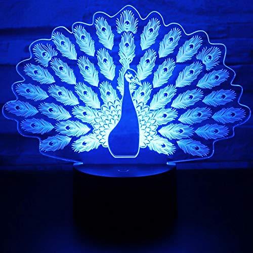 Luz De Noche Led 3D Pavo Real Haciendo Alarde De Su Pavo Real De Cola Con Luz De 7 Colores Para Lámpara De Decoración Del Hogar Visualización Increíble Óptica 1pc