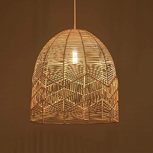 Popertr E27 Japanese Rattan Colgante Lámpara de techo Ratán natural Tejido Creativo Restaurante Chandelier Colgante Lámparas Jaula para Bar Cafe Restaurante Bar House House Homestay