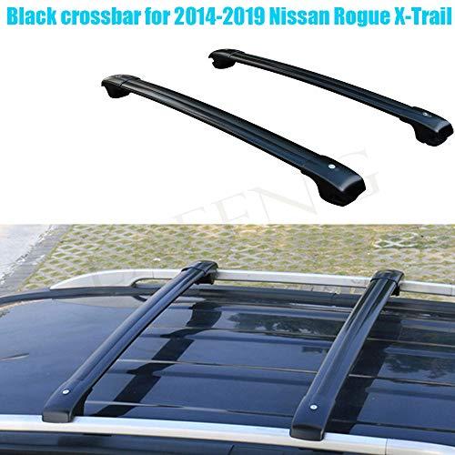 LAFENG Barra transversal negra para Nissan Rogue X-Trail 2014-2019, 2 piezas de aleación de aluminio para portaequipajes portaequipajes de techo