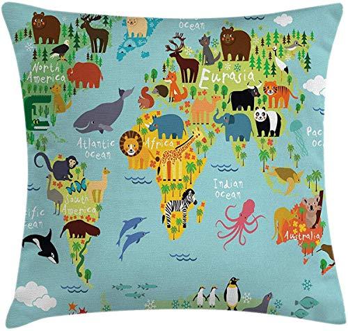 JamirtyRoy1 Funda de almohada para cojín, diseño de mapa del mundo para niños y niñas, con dibujos animados de montañas y bosques, funda de almohada decorativa cuadrada de 45,7 x 45,7 cm, color azul pálido