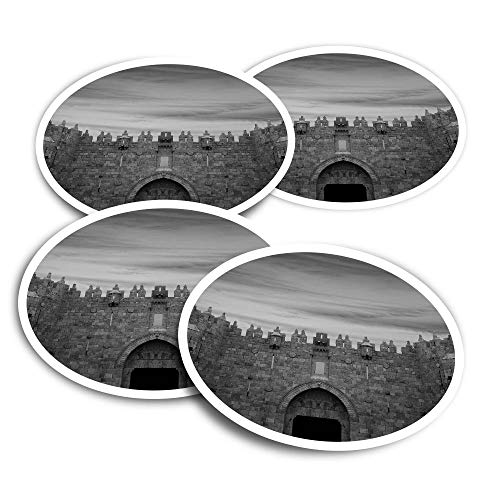 Pegatinas de vinilo (juego de 4) 10 cm – BW – Damasco Gate Jerusalem Fun calcomanías para ordenadores portátiles, tabletas, equipaje, reserva de chatarra, neveras #41658
