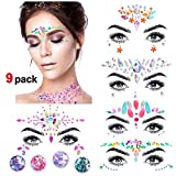 Konsait 9 Sets Face Gem Stickers, Sirena Pegatinas Cara Joyas cara Cristales Tatuajes...