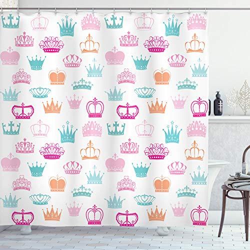 Lunarable Princess Duschvorhang, verschiedene Größen & Formen Kronen Indikator der Power Ruling Royalty King Queen Druck, Stoff Badezimmer Dekor Set mit Haken, 178 cm, mehrfarbig