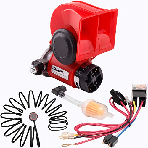 FARBIN Car Horn Kit 12V 150db Loud Air Horn with Compressor,Compact Horn with Relay Harness Button for Car Truck Jeep (12V, red horn with button)