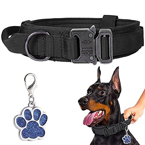 LIVETTY Verstellbare Hundehalsband Robuste Kontrollgriff, Taktisches Hundehalsband mit Robuste Metallschnalle für Mittlere Große Hunde,Hundehalsband breit 3.8CM,Halsband K9 Training Nylon L