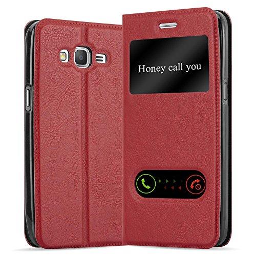 Cadorabo Hülle für Samsung Galaxy Grand Prime in Safran ROT – Handyhülle mit Magnetverschluss, Standfunktion & 2 Sichtfenstern – Hülle Cover Schutzhülle Etui Tasche Book Klapp Style
