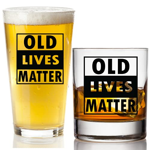 Old Lives Matter Beer Glass + Whiskey Scotch Glass - Funny Retirement or Birthday Gifts for Men - Unique Gag Gifts for Dad, Grandpa, Old Man, or Senior Citizen