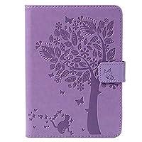 CONGCASE Amazon Kindle Paperwhite 4 (第10世代-2018)のための自動スリープ/ウェイク付きツリー猫エンボスパターンPUレザーフリップスタンドウォレットカバー (Color : Light Purple)