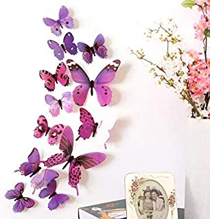 3D Purple Butterfly Stickers Removeable Waterproof Decoration