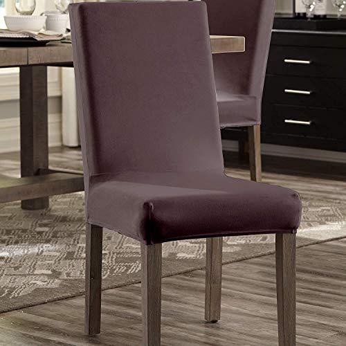 SureFit Home Decor Stretch Plush Dining Chair Slipcover 4-Piece Set, Mulberry