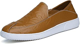 Shangruiqi Fashion Sneaker for Men Sports Shoes Slip On Style OX Leather Individual Stitching Toe Casual Trend Anti-Wear (Color : Yellow, Size : 7.5 UK)