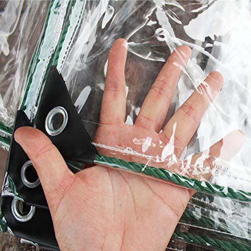 0,4mm Transparente PVC Folie Wasserdichte Plane Verdicken Regenschutz Tarp Weicher Kunststoff Balkon Regen Vorhang Sonnenschutz Abdeckplane mit Ösen,für Poll Gartenmöbel...