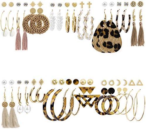 36 Pairs Fashion Earrings for Women Trendy Teen Girls Boho Dangle Earring Pearl Stud Jewelry product image