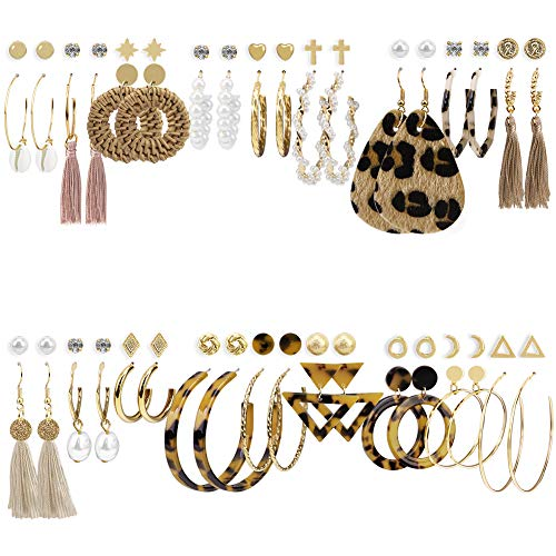 36 Pairs Fashion Earrings for Women Trendy Teen Girls Boho Dangle Earring & Pearl Stud Jewelry Set, Acrylic Drop Rattan Leather Earring for Birthday Party/Valentine/Christmas Gifts