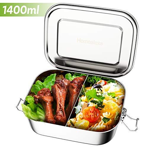 Homealexa Edelstahl Brotdose auslaufsicher, inkl. flexiblem Trennsteg, 1400ml Premium Lunchbox, 100{bbf6b32af48f032c01d8734329ce0b2b3b1bafaa02af9a63418b7fbfcf664bb7} BPA frei große Brotbox zum Wandern/Reisen/Schule Kinder und Erwachsene