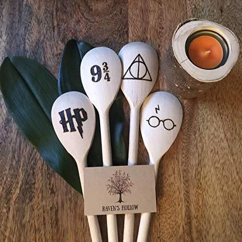 Wooden Hand Burned Harry Potter Spoons, Harry Potter Kitchen Utensils, Deathly Hallows, 9 3/4