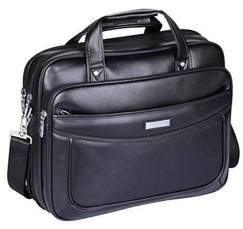 "BOSS ARON Men's Large Microfiber Leather 15.6"" Briefcase Laptop Business Bag (CB1-Black)"